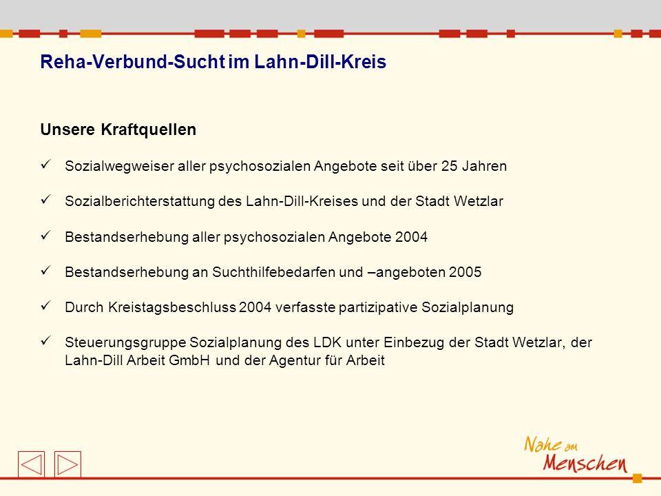Reha-Verbund-Sucht im Lahn-Dill-Kreis Unsere Kraftquellen Sozialwegweiser aller psychosozialen Angebote seit über 25 Jahren Sozialberichterstattung de