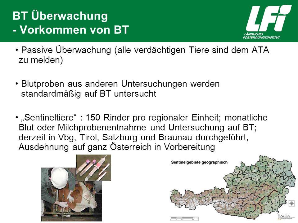 BT Überwachung - Vorkommen von BT Passive Überwachung (alle verdächtigen Tiere sind dem ATA zu melden) Blutproben aus anderen Untersuchungen werden st