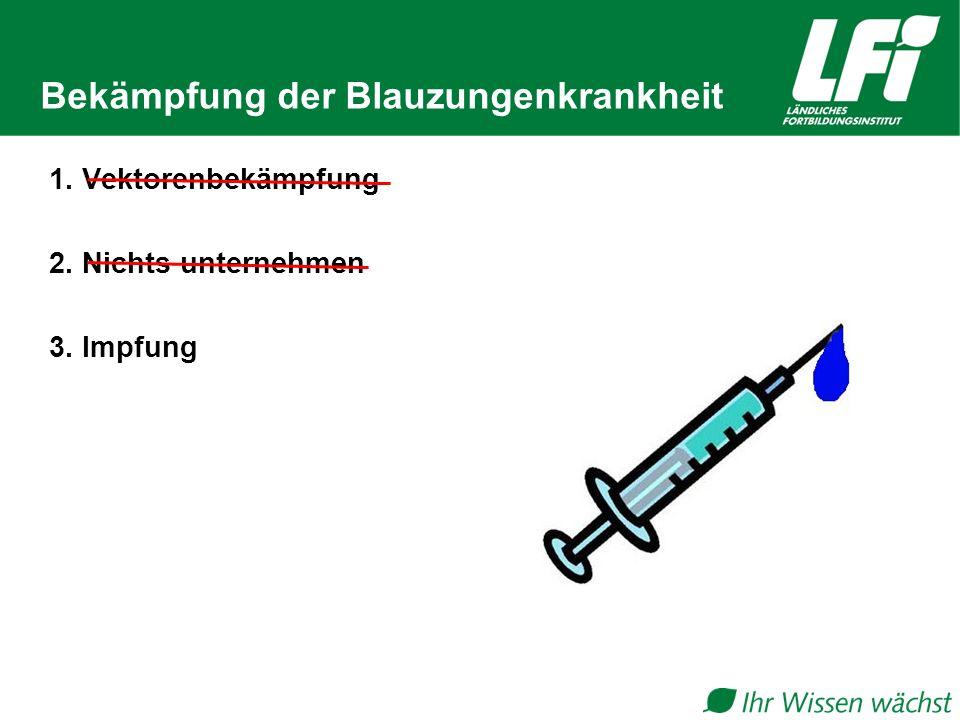 Bekämpfung der Blauzungenkrankheit 1. Vektorenbekämpfung 2. Nichts unternehmen 3. Impfung