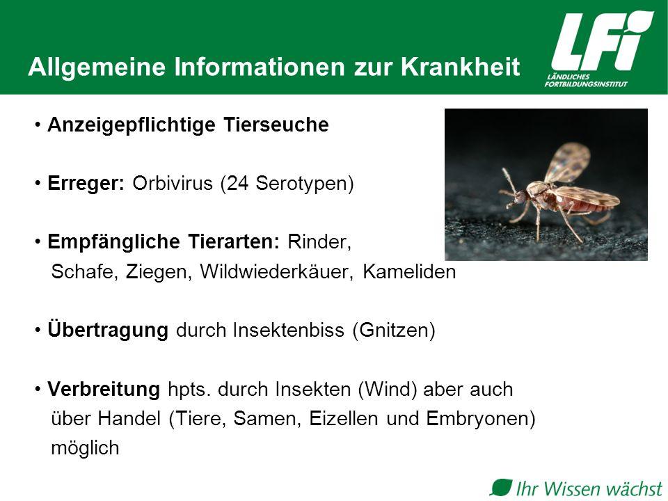Allgemeine Informationen zur Krankheit Anzeigepflichtige Tierseuche Erreger: Orbivirus (24 Serotypen) Empfängliche Tierarten: Rinder, Schafe, Ziegen,
