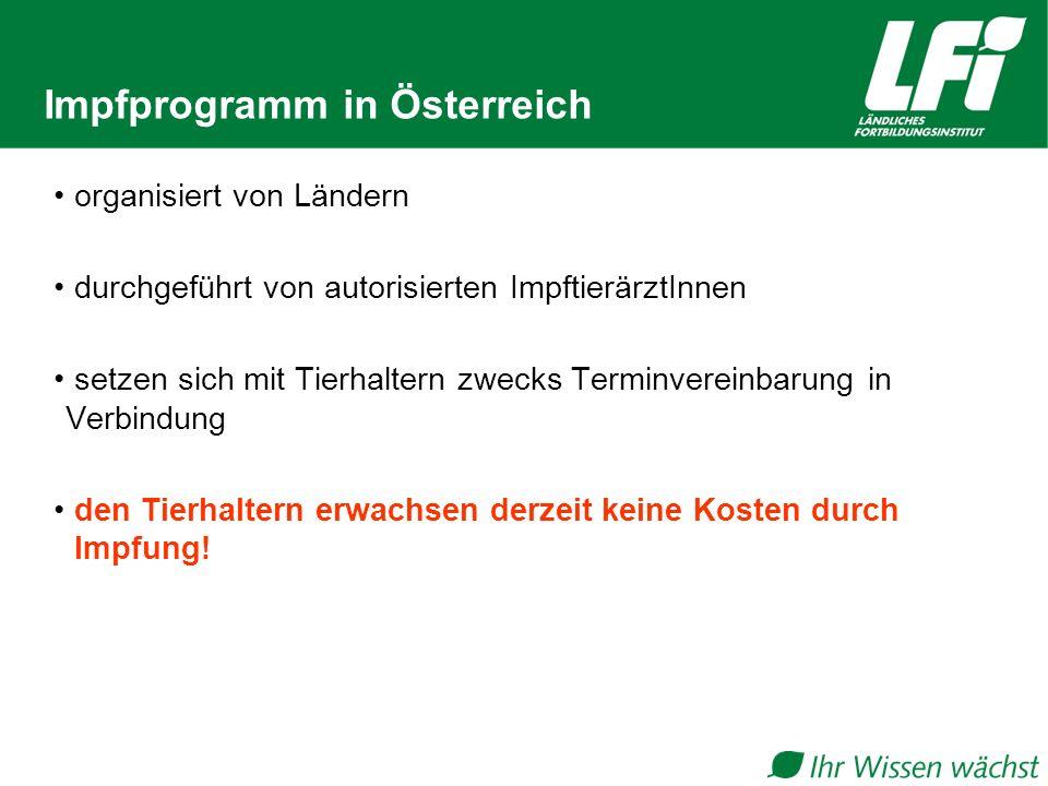 Impfprogramm in Österreich organisiert von Ländern durchgeführt von autorisierten ImpftierärztInnen setzen sich mit Tierhaltern zwecks Terminvereinbar