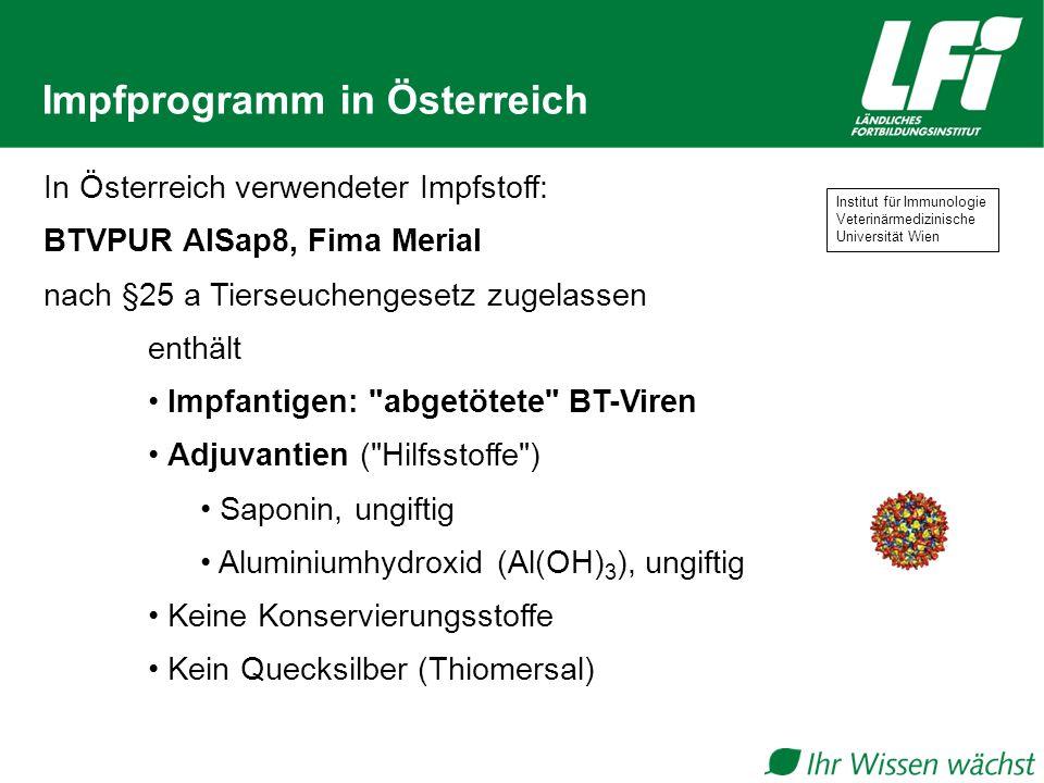 Impfprogramm in Österreich In Österreich verwendeter Impfstoff: BTVPUR AlSap8, Fima Merial nach §25 a Tierseuchengesetz zugelassen enthält Impfantigen