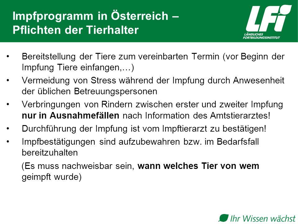 Impfprogramm in Österreich – Pflichten der Tierhalter Bereitstellung der Tiere zum vereinbarten Termin (vor Beginn der Impfung Tiere einfangen,…) Verm