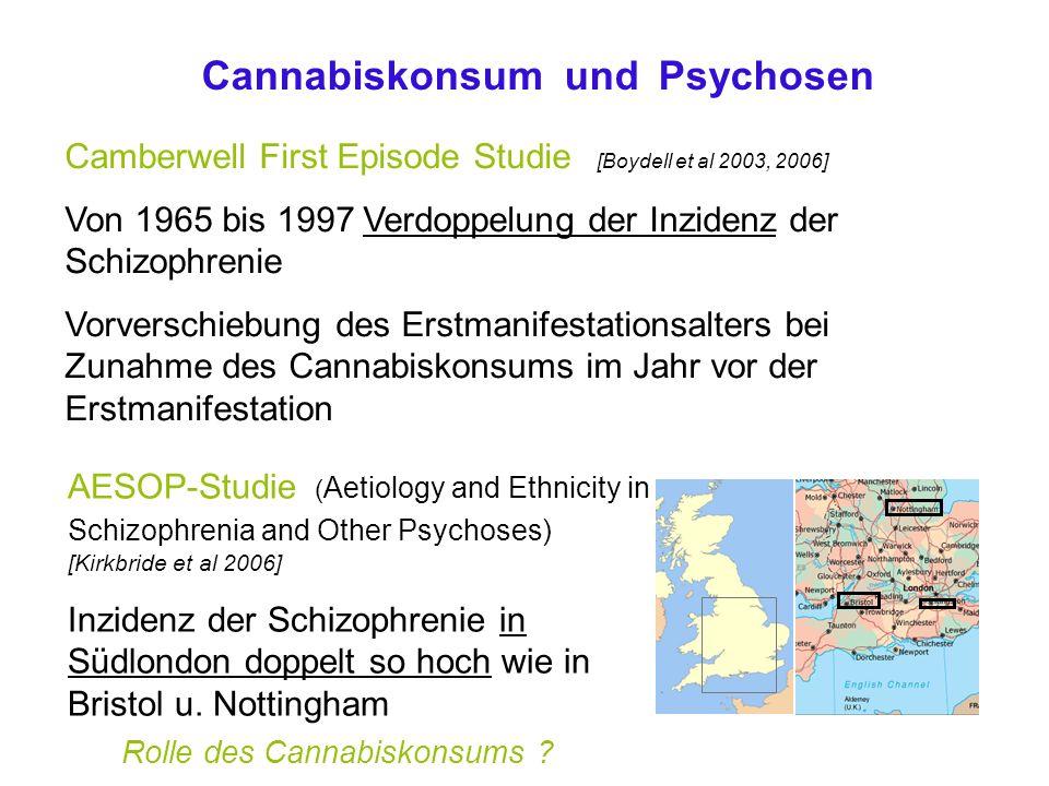 Camberwell First Episode Studie [Boydell et al 2003, 2006] Von 1965 bis 1997 Verdoppelung der Inzidenz der Schizophrenie Vorverschiebung des Erstmanifestationsalters bei Zunahme des Cannabiskonsums im Jahr vor der Erstmanifestation AESOP-Studie ( Aetiology and Ethnicity in Schizophrenia and Other Psychoses) [Kirkbride et al 2006] Inzidenz der Schizophrenie in Südlondon doppelt so hoch wie in Bristol u.