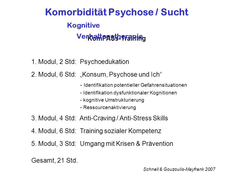 KomPASs-Training Schnell & Gouzoulis-Mayfrank 2007 Komorbidität Psychose / Sucht Kognitive Verhaltenstherapie 1.