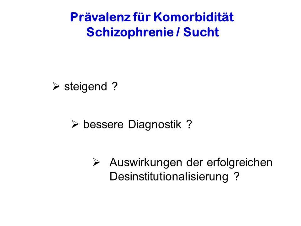 Prävalenz für Komorbidität Schizophrenie / Sucht steigend .