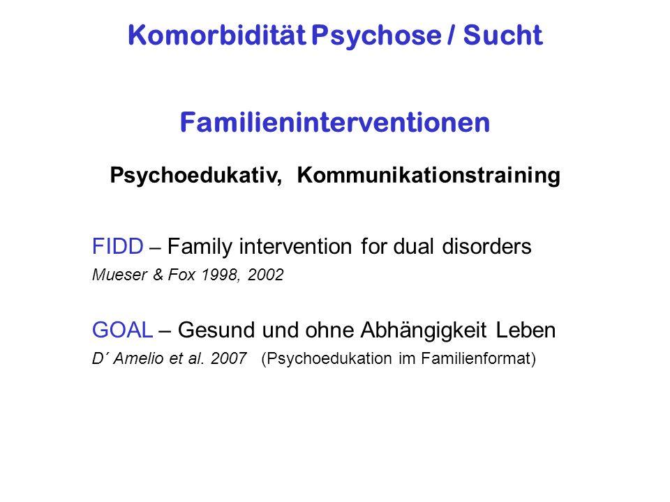 Komorbidität Psychose / Sucht Familieninterventionen Psychoedukativ, Kommunikationstraining FIDD – Family intervention for dual disorders Mueser & Fox 1998, 2002 GOAL – Gesund und ohne Abhängigkeit Leben D´ Amelio et al.