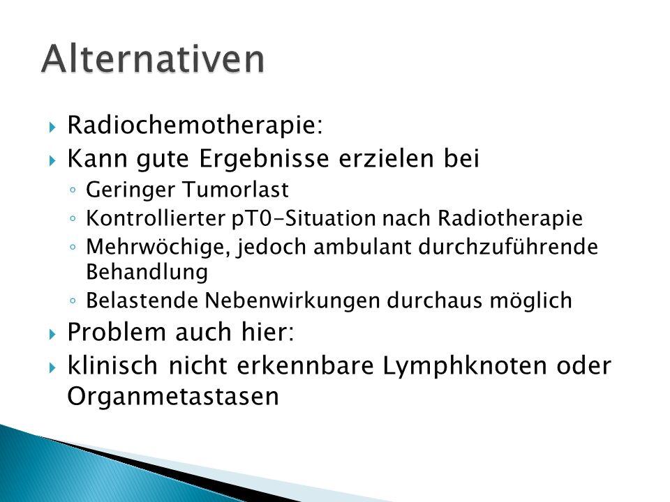 Radiochemotherapie: Kann gute Ergebnisse erzielen bei Geringer Tumorlast Kontrollierter pT0-Situation nach Radiotherapie Mehrwöchige, jedoch ambulant