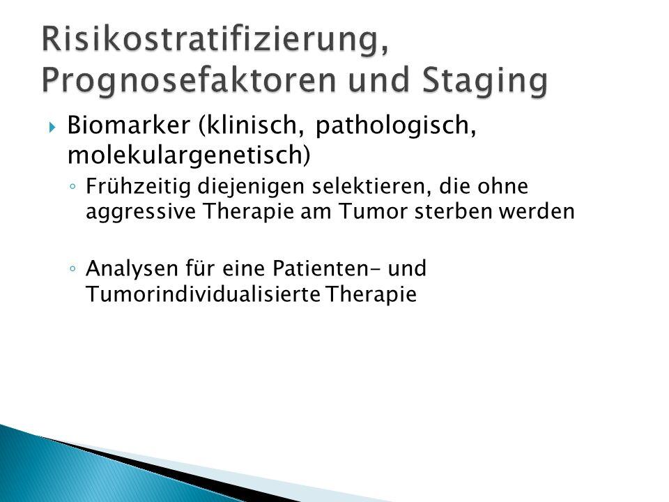 Biomarker (klinisch, pathologisch, molekulargenetisch) Frühzeitig diejenigen selektieren, die ohne aggressive Therapie am Tumor sterben werden Analyse