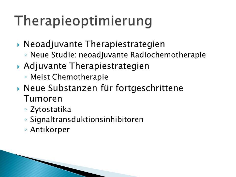 Neoadjuvante Therapiestrategien Neue Studie: neoadjuvante Radiochemotherapie Adjuvante Therapiestrategien Meist Chemotherapie Neue Substanzen für fort
