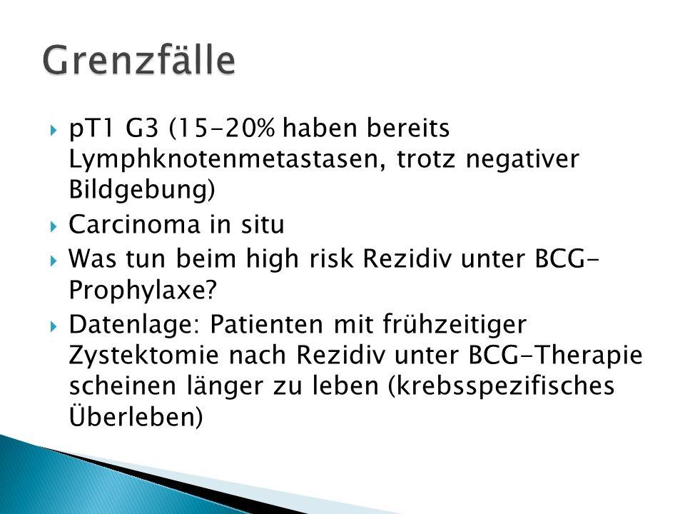 pT1 G3 (15-20% haben bereits Lymphknotenmetastasen, trotz negativer Bildgebung) Carcinoma in situ Was tun beim high risk Rezidiv unter BCG- Prophylaxe