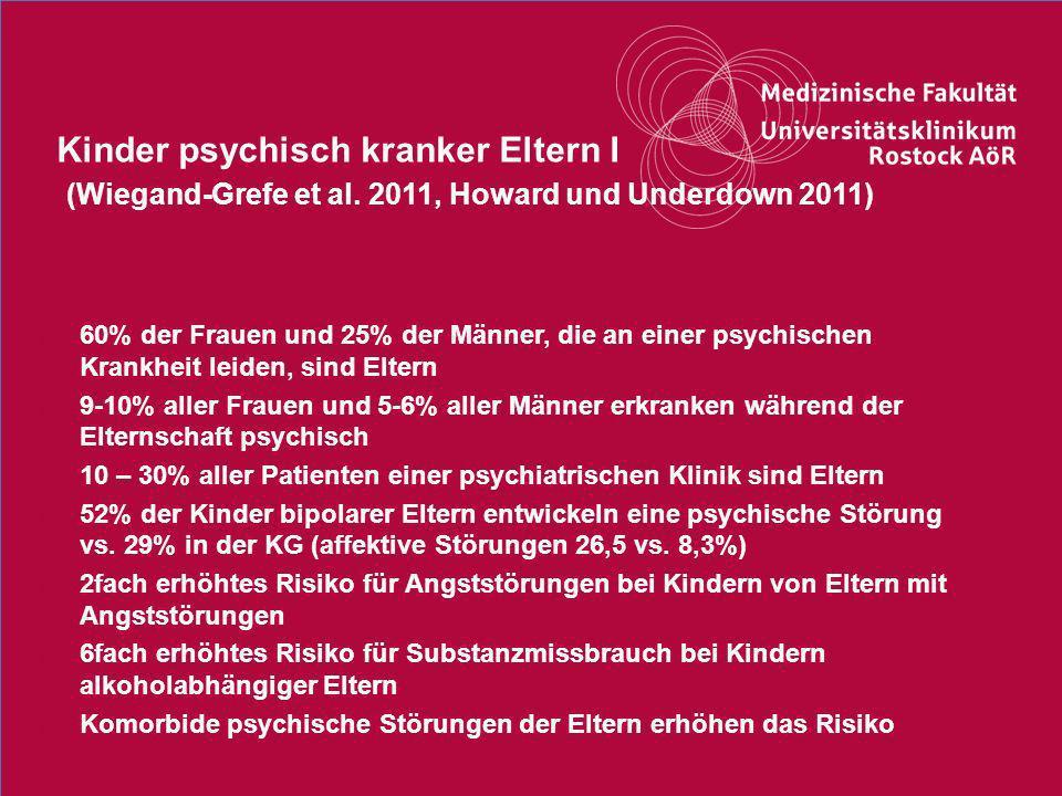 11Titel der Präsentation Kinder psychisch kranker Eltern I (Wiegand-Grefe et al. 2011, Howard und Underdown 2011) o 60% der Frauen und 25% der Männer,