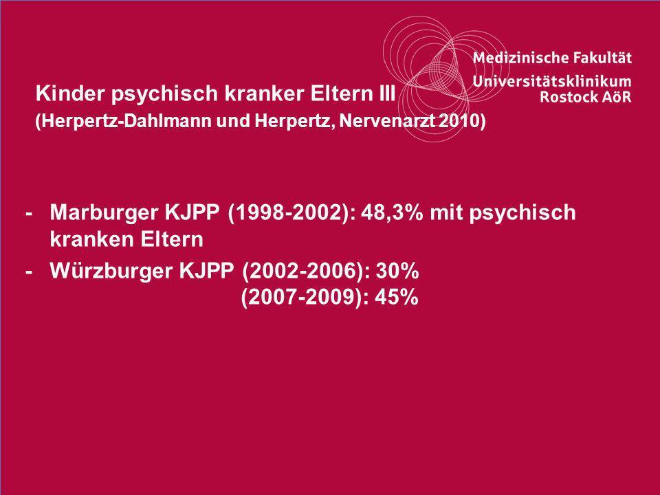 13Titel der Präsentation Kinder psychisch kranker Eltern III (Herpertz-Dahlmann und Herpertz, Nervenarzt 2010) -Marburger KJPP (1998-2002): 48,3% mit