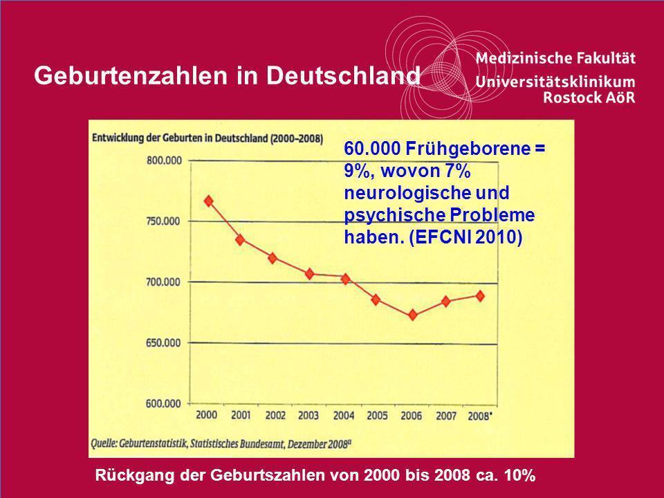 33Titel der Präsentation Geburtenzahlen in Deutschland Rückgang der Geburtszahlen von 2000 bis 2008 ca. 10% 60.000 Frühgeborene = 9%, wovon 7% neurolo