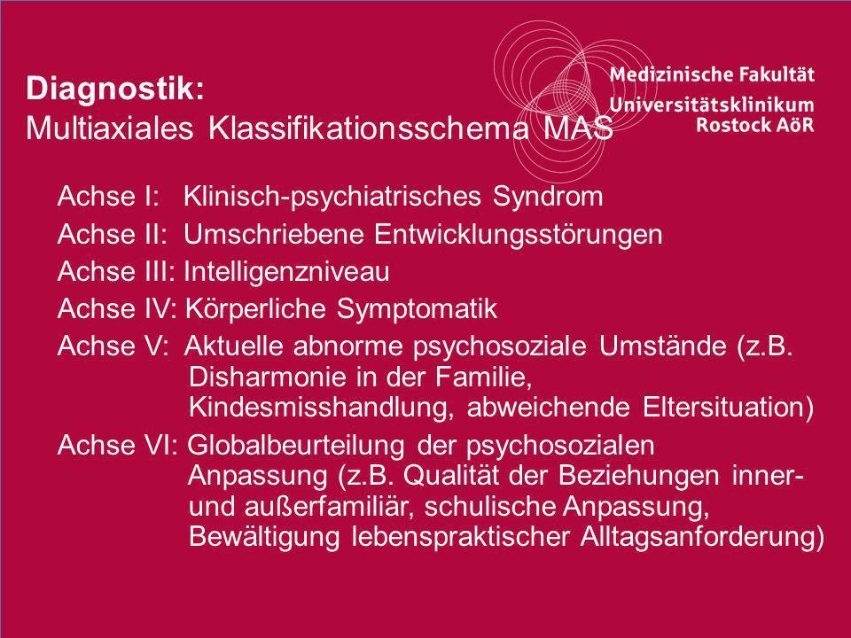 7Titel der Präsentation Diagnostik: Multiaxiales Klassifikationsschema MAS o Achse I: Klinisch-psychiatrisches Syndrom o Achse II: Umschriebene Entwic
