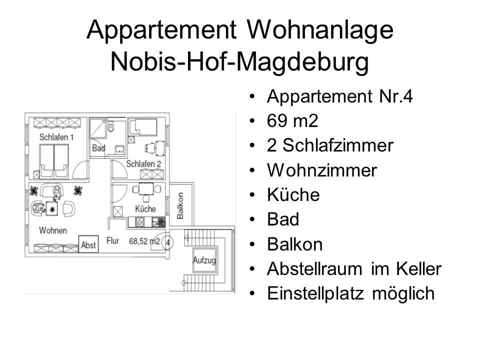 Appartement Wohnanlage Nobis-Hof-Magdeburg Appartement Nr.4 69 m2 2 Schlafzimmer Wohnzimmer Küche Bad Balkon Abstellraum im Keller Einstellplatz möglich