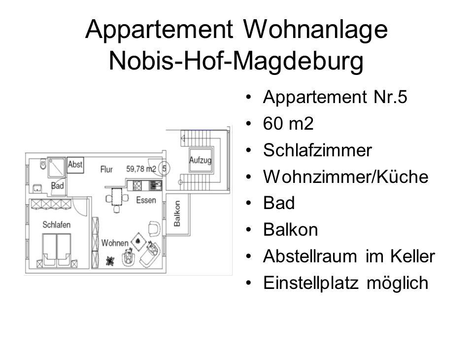 Appartement Wohnanlage Nobis-Hof-Magdeburg Appartement Nr.5 60 m2 Schlafzimmer Wohnzimmer/Küche Bad Balkon Abstellraum im Keller Einstellplatz möglich
