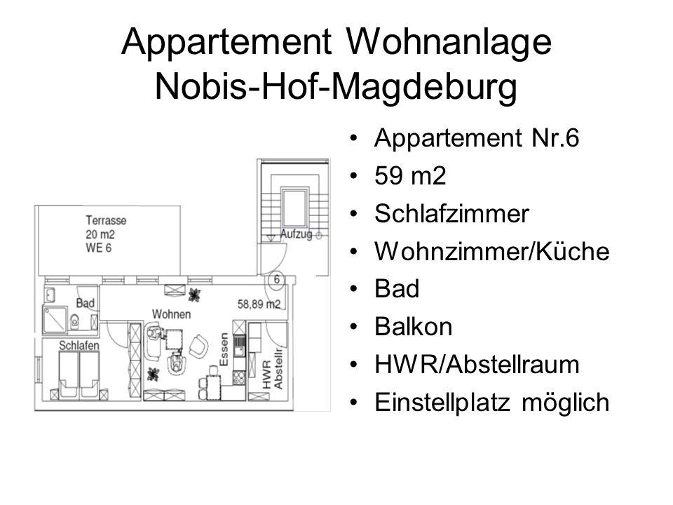 Appartement Wohnanlage Nobis-Hof-Magdeburg Appartement Nr.6 59 m2 Schlafzimmer Wohnzimmer/Küche Bad Balkon HWR/Abstellraum Einstellplatz möglich