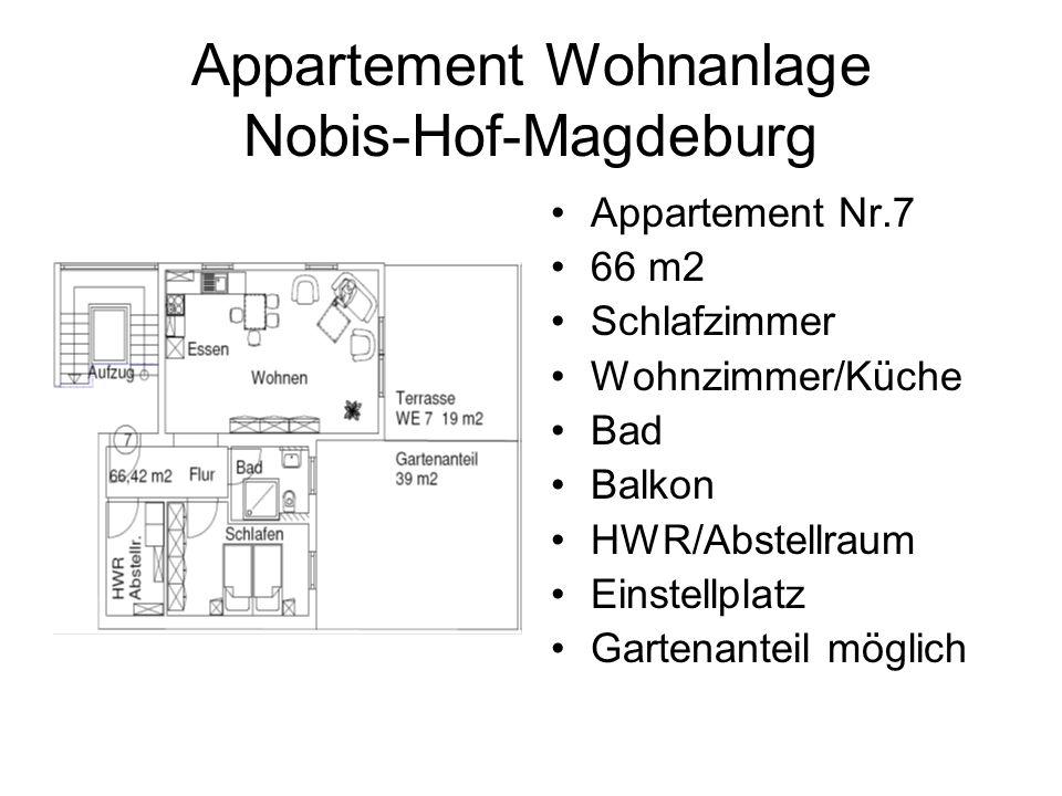Appartement Wohnanlage Nobis-Hof-Magdeburg Appartement Nr.7 66 m2 Schlafzimmer Wohnzimmer/Küche Bad Balkon HWR/Abstellraum Einstellplatz Gartenanteil möglich