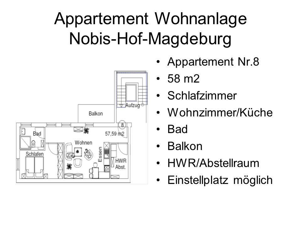 Appartement Wohnanlage Nobis-Hof-Magdeburg Appartement Nr.8 58 m2 Schlafzimmer Wohnzimmer/Küche Bad Balkon HWR/Abstellraum Einstellplatz möglich