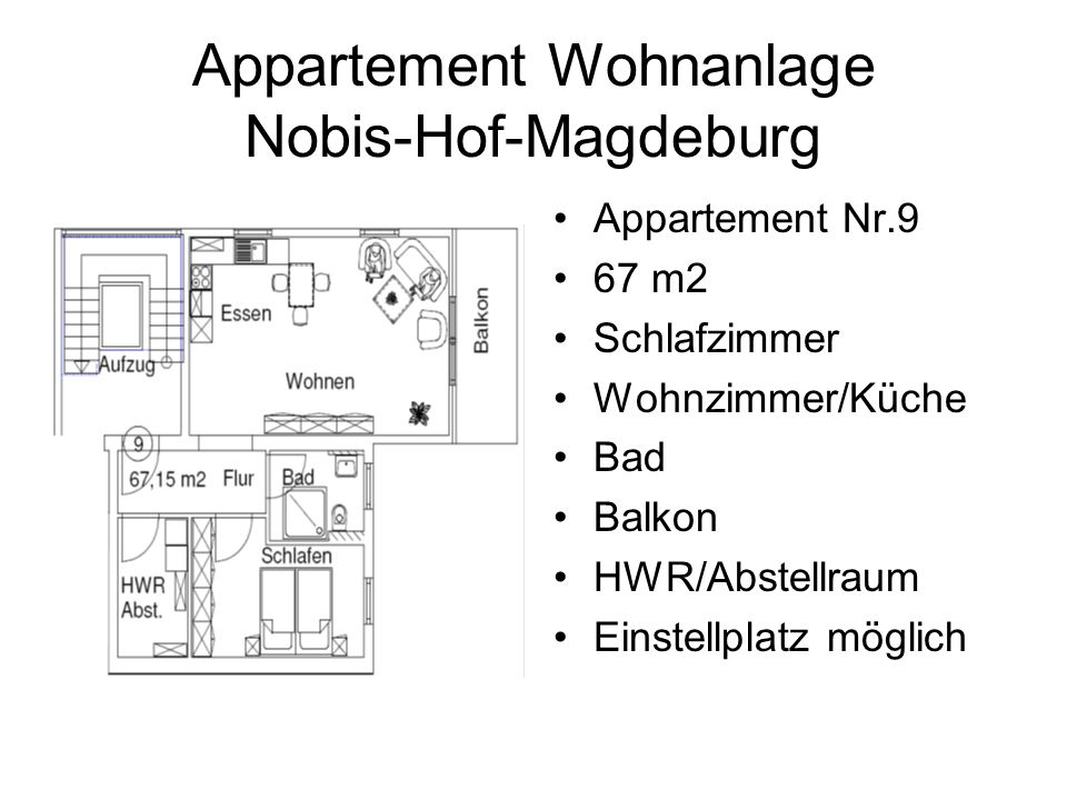 Appartement Wohnanlage Nobis-Hof-Magdeburg Appartement Nr.9 67 m2 Schlafzimmer Wohnzimmer/Küche Bad Balkon HWR/Abstellraum Einstellplatz möglich