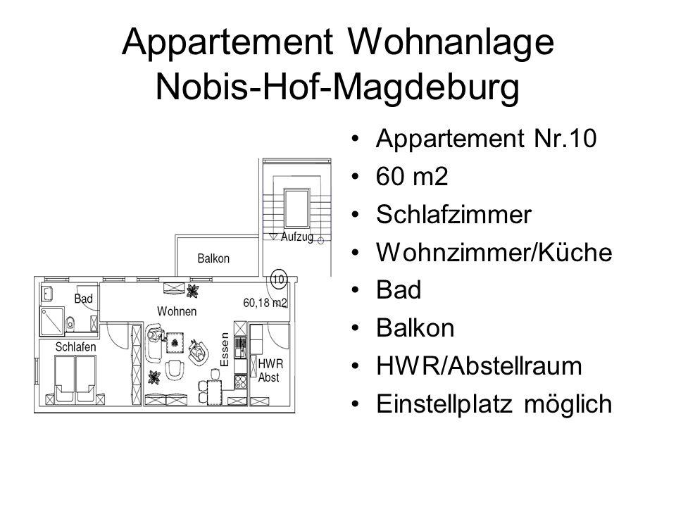 Appartement Wohnanlage Nobis-Hof-Magdeburg Appartement Nr.10 60 m2 Schlafzimmer Wohnzimmer/Küche Bad Balkon HWR/Abstellraum Einstellplatz möglich