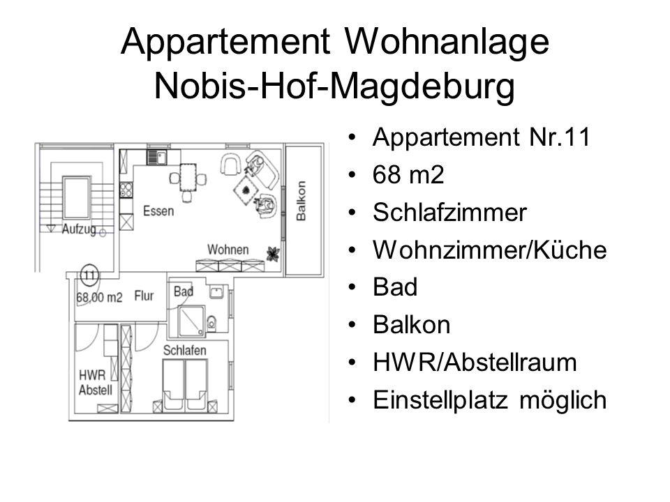Appartement Wohnanlage Nobis-Hof-Magdeburg Appartement Nr.11 68 m2 Schlafzimmer Wohnzimmer/Küche Bad Balkon HWR/Abstellraum Einstellplatz möglich