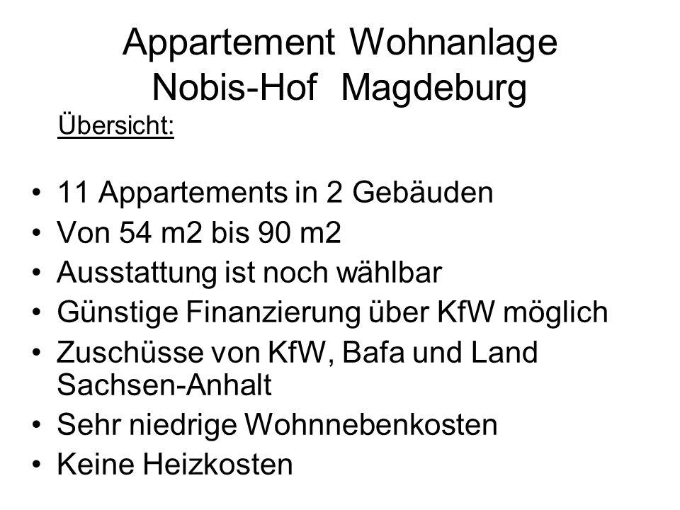 11 Appartements in 2 Gebäuden Von 54 m2 bis 90 m2 Ausstattung ist noch wählbar Günstige Finanzierung über KfW möglich Zuschüsse von KfW, Bafa und Land Sachsen-Anhalt Sehr niedrige Wohnnebenkosten Keine Heizkosten Appartement Wohnanlage Nobis-Hof Magdeburg Übersicht: