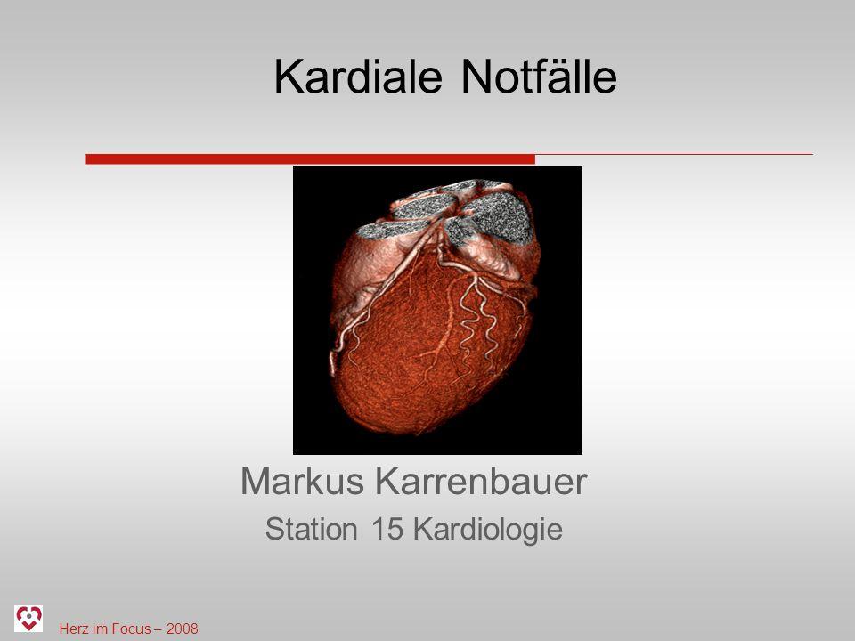 Herz im Focus – 2008 Inhaltsverzeichnis Ursachen eines kardialen Notfalls Erkennen eines Notfalls Die Rettungskette Frühdefibrillation Notfallmanagement im HerzZentrum Saar Zusammenfassung