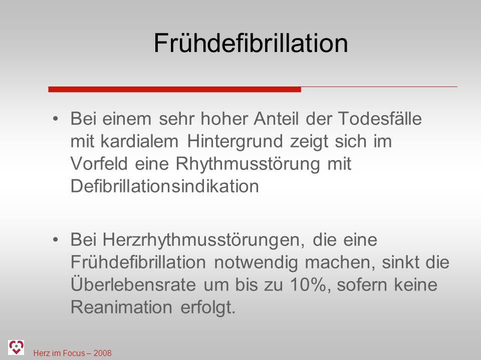 Herz im Focus – 2008 Frühdefibrillation Bei einem sehr hoher Anteil der Todesfälle mit kardialem Hintergrund zeigt sich im Vorfeld eine Rhythmusstörung mit Defibrillationsindikation Bei Herzrhythmusstörungen, die eine Frühdefibrillation notwendig machen, sinkt die Überlebensrate um bis zu 10%, sofern keine Reanimation erfolgt.
