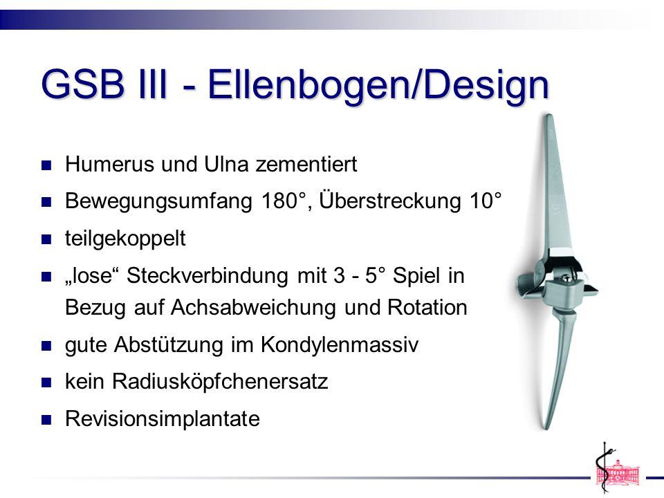 GSB III - Ellenbogen/Design Humerus und Ulna zementiert Bewegungsumfang 180°, Überstreckung 10° teilgekoppelt lose Steckverbindung mit 3 - 5° Spiel in
