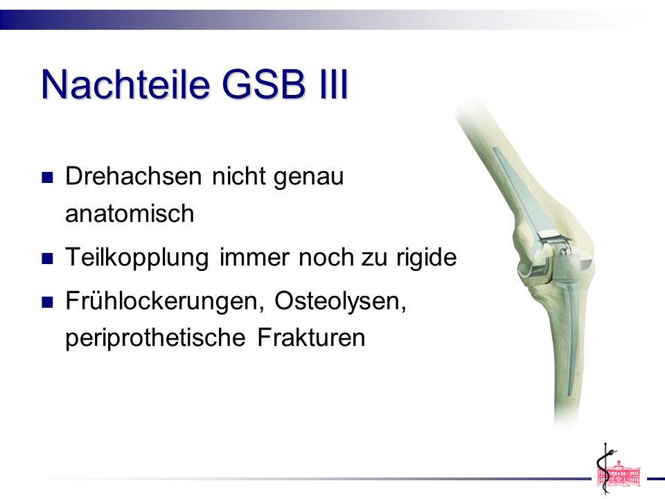 Nachteile GSB III Drehachsen nicht genau anatomisch Teilkopplung immer noch zu rigide Frühlockerungen, Osteolysen, periprothetische Frakturen