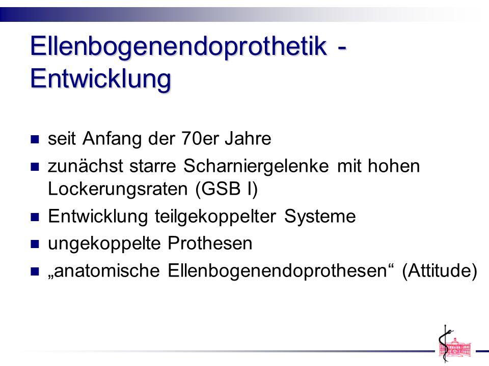 Ellenbogenendoprothetik - Entwicklung seit Anfang der 70er Jahre zunächst starre Scharniergelenke mit hohen Lockerungsraten (GSB I) Entwicklung teilge