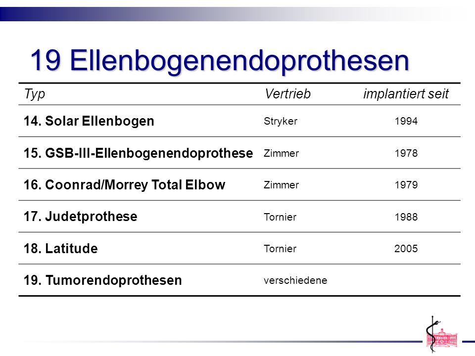 19 Ellenbogenendoprothesen TypVertriebimplantiert seit 14. Solar Ellenbogen Stryker1994 15. GSB-III-Ellenbogenendoprothese Zimmer1978 16. Coonrad/Morr