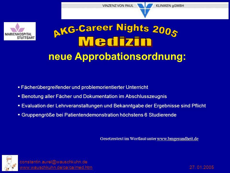 constantin.aurel@wauschkuhn.de www.wauschkuhn.de/ca/ca/med.htm 27. 01.2005 www.wauschkuhn.de/ca/ca/med.htm neue Approbationsordnung: Fächerübergreifen