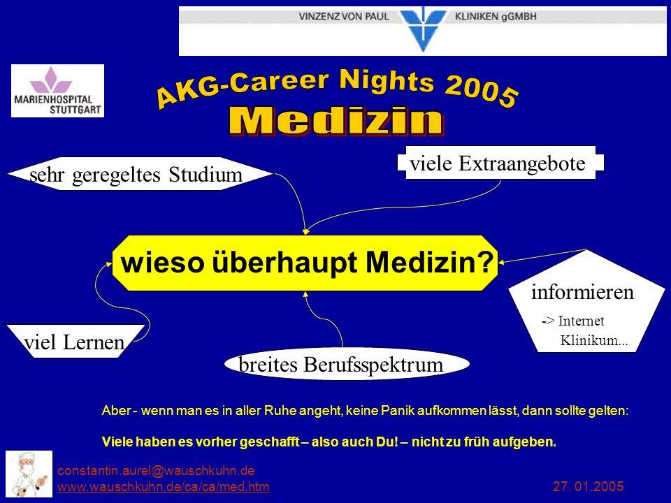 constantin.aurel@wauschkuhn.de www.wauschkuhn.de/ca/ca/med.htm 27. 01.2005 www.wauschkuhn.de/ca/ca/med.htm wieso überhaupt Medizin? Aber - wenn man es