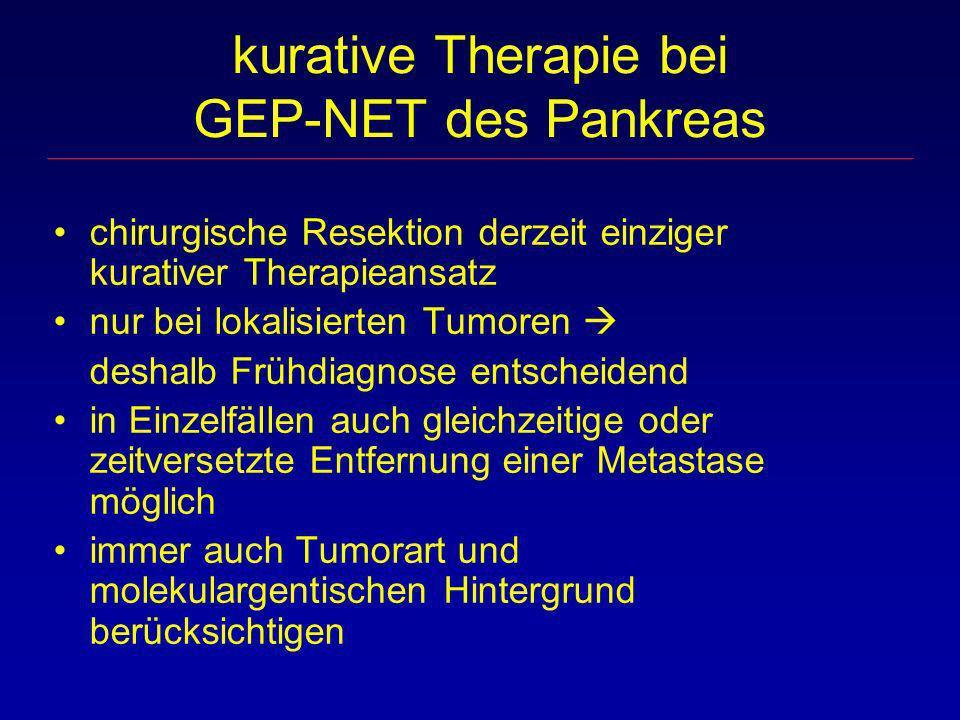kurative Therapie bei GEP-NET des Pankreas chirurgische Resektion derzeit einziger kurativer Therapieansatz nur bei lokalisierten Tumoren deshalb Früh