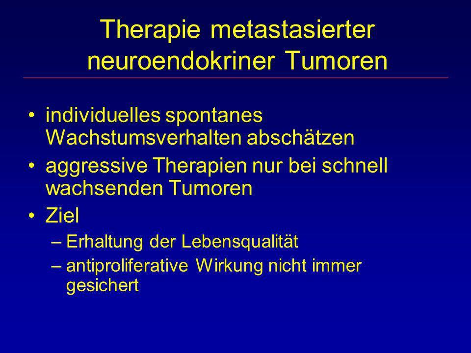Therapie metastasierter neuroendokriner Tumoren individuelles spontanes Wachstumsverhalten abschätzen aggressive Therapien nur bei schnell wachsenden