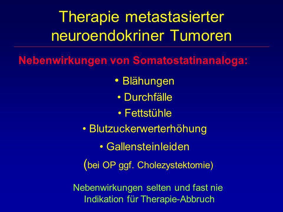 Nebenwirkungen von Somatostatinanaloga: Blähungen Durchfälle Fettstühle Blutzuckerwerterhöhung Gallensteinleiden ( bei OP ggf. Cholezystektomie) Thera