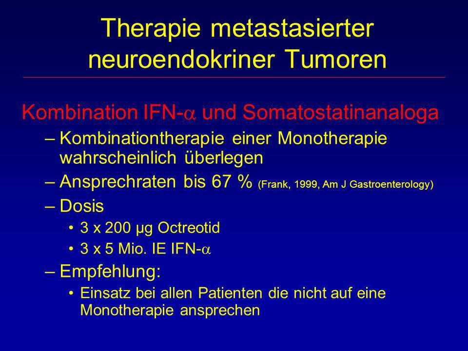 Kombination IFN- und Somatostatinanaloga –Kombinationtherapie einer Monotherapie wahrscheinlich überlegen –Ansprechraten bis 67 % (Frank, 1999, Am J G