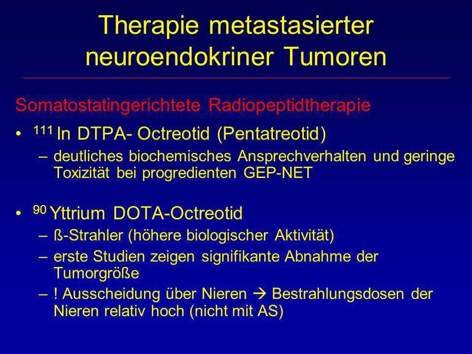 Somatostatingerichtete Radiopeptidtherapie 111 In DTPA- Octreotid (Pentatreotid) –deutliches biochemisches Ansprechverhalten und geringe Toxizität bei