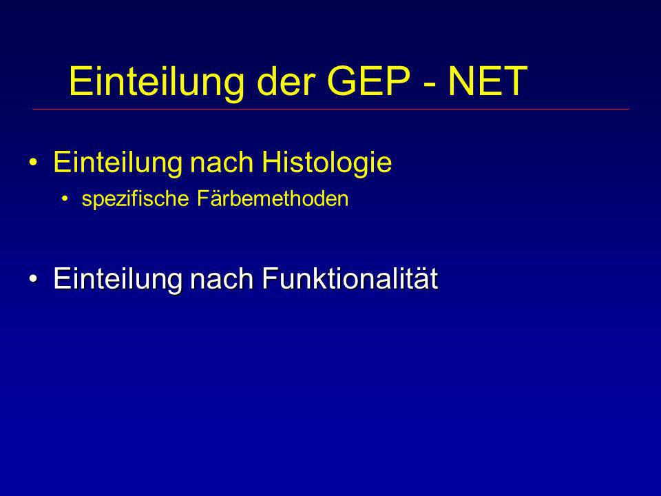 Einteilung der GEP - NET Einteilung nach Histologie spezifische Färbemethoden Einteilung nach FunktionalitätEinteilung nach Funktionalität