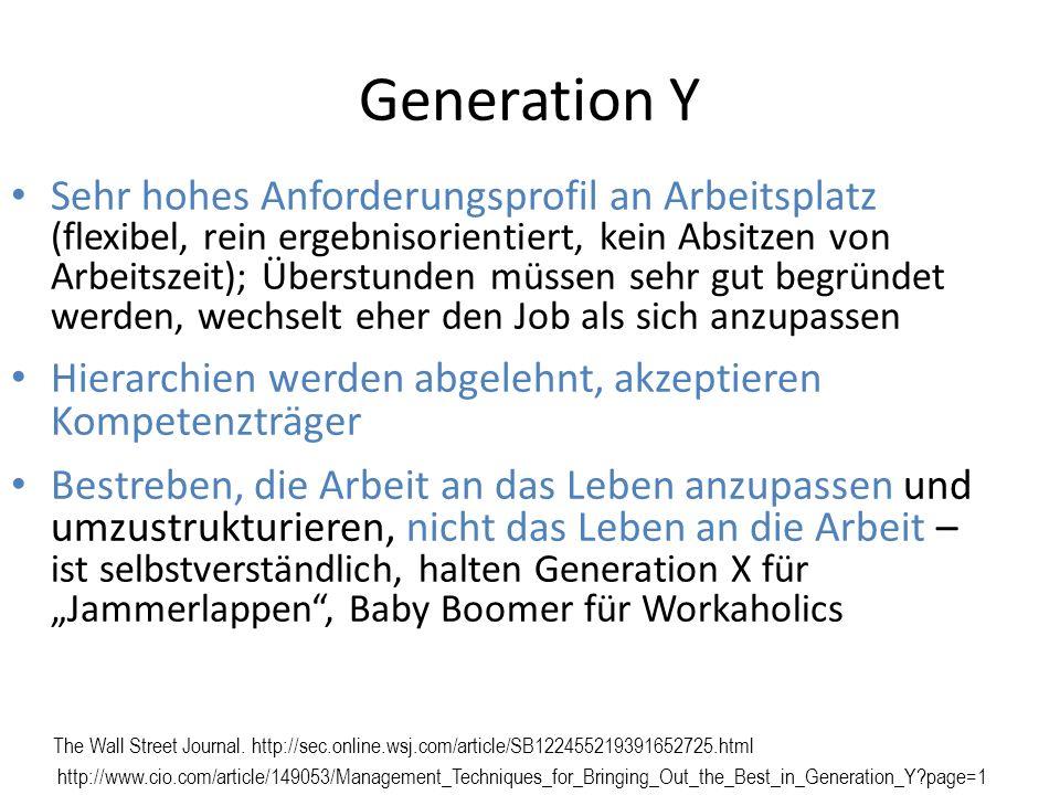 Generation Y Sehr hohes Anforderungsprofil an Arbeitsplatz (flexibel, rein ergebnisorientiert, kein Absitzen von Arbeitszeit); Überstunden müssen sehr