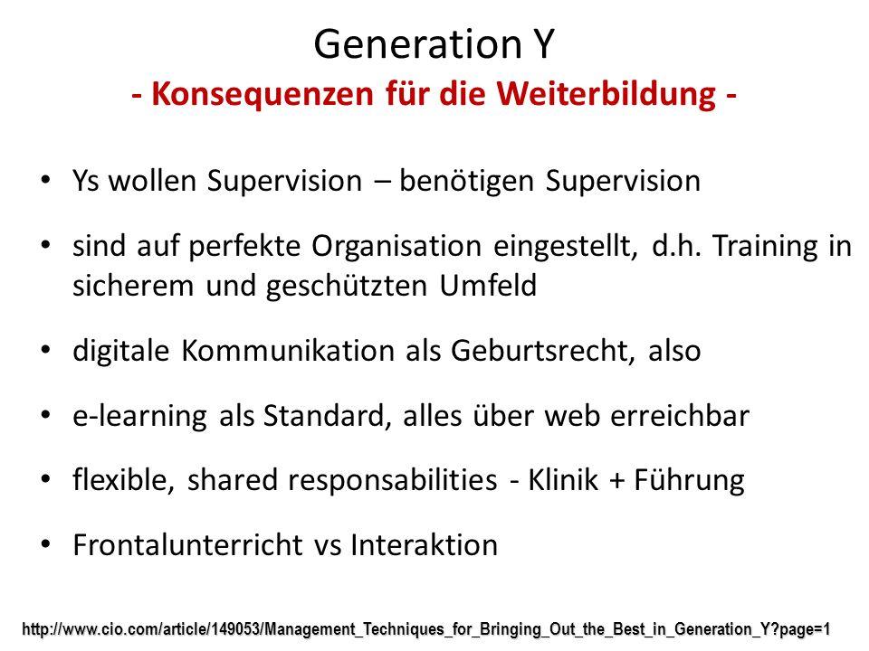 Generation Y - Konsequenzen für die Weiterbildung - Ys wollen Supervision – benötigen Supervision sind auf perfekte Organisation eingestellt, d.h. Tra