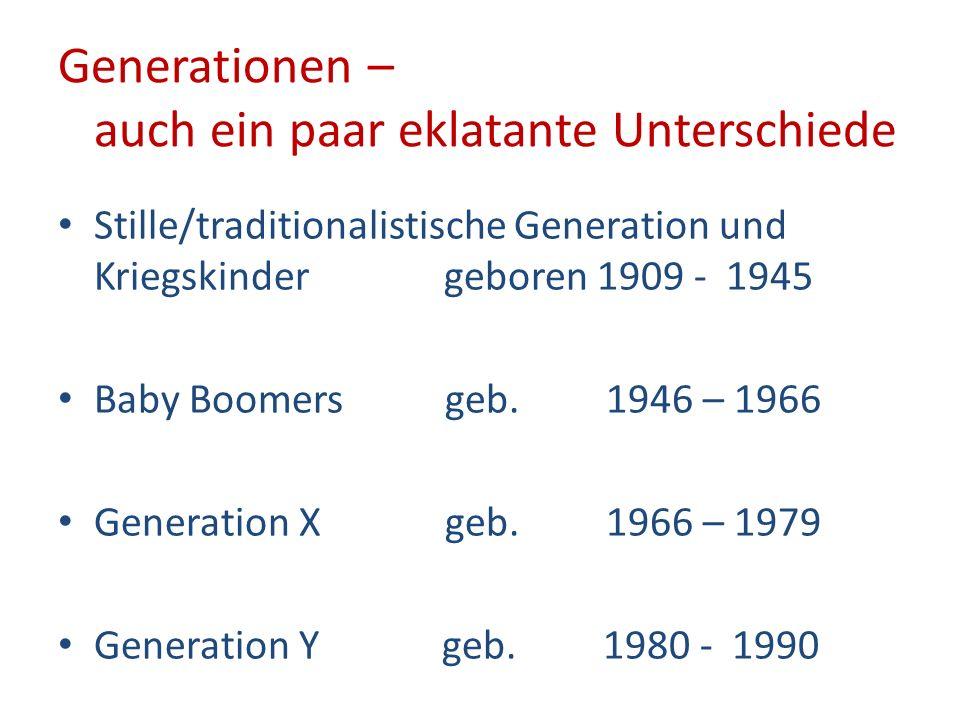 Generationen – auch ein paar eklatante Unterschiede Stille/traditionalistische Generation und Kriegskinder geboren 1909 - 1945 Baby Boomers geb. 1946
