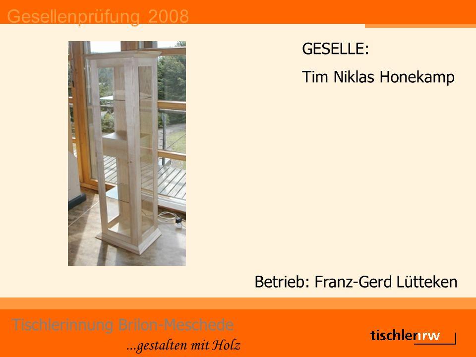 Gesellenprüfung 2008 Tischlerinnung Brilon-Meschede...gestalten mit Holz Betrieb: Franz-Gerd Lütteken GESELLE: Tim Niklas Honekamp