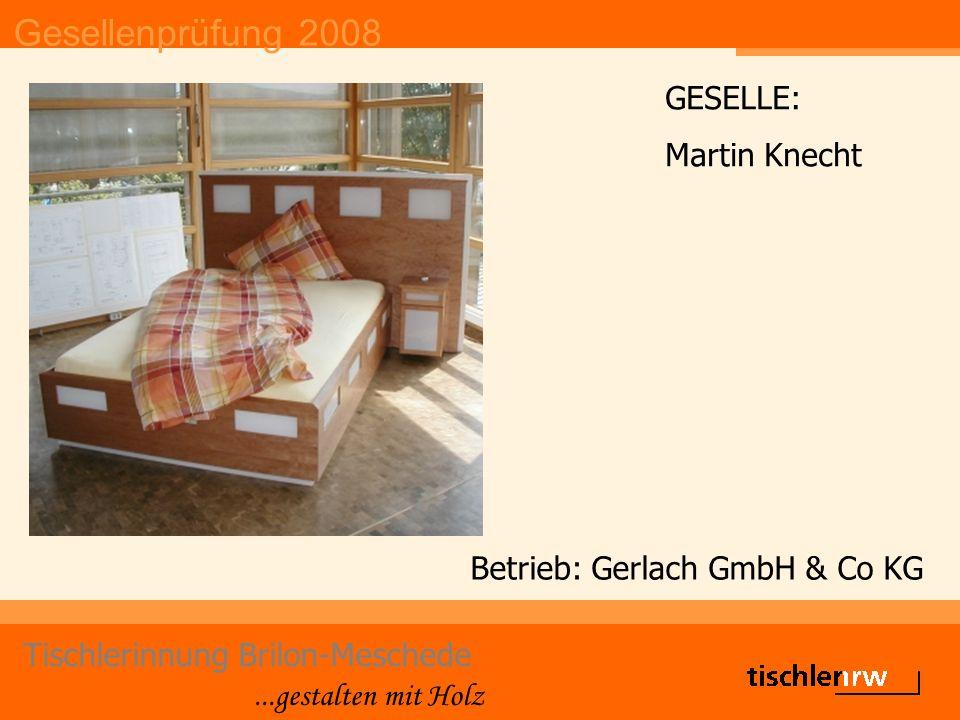 Gesellenprüfung 2008 Tischlerinnung Brilon-Meschede...gestalten mit Holz Betrieb: Gerlach GmbH & Co KG GESELLE: Martin Knecht