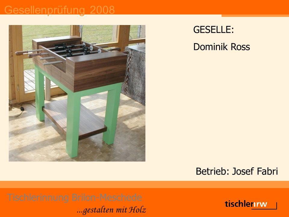 Gesellenprüfung 2008 Tischlerinnung Brilon-Meschede...gestalten mit Holz Betrieb: Josef Fabri GESELLE: Dominik Ross