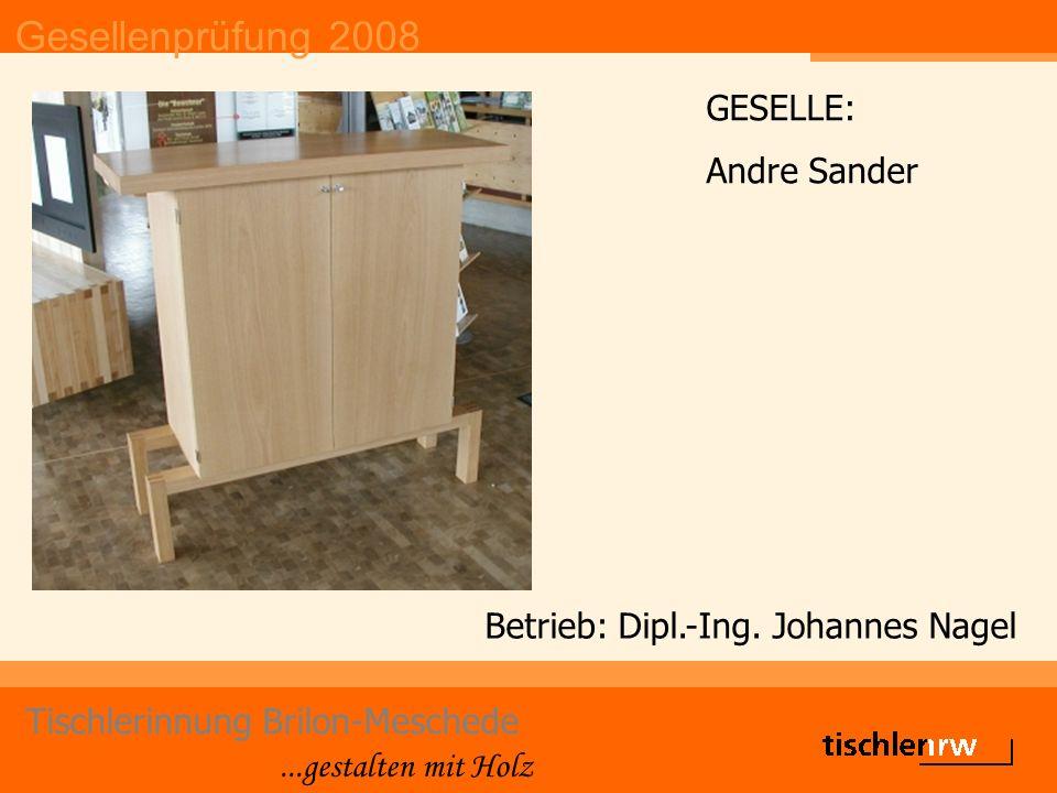 Gesellenprüfung 2008 Tischlerinnung Brilon-Meschede...gestalten mit Holz Betrieb: Dipl.-Ing.