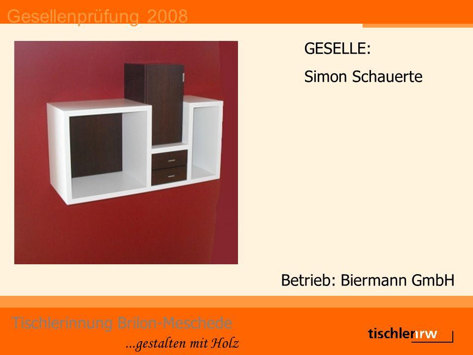 Gesellenprüfung 2008 Tischlerinnung Brilon-Meschede...gestalten mit Holz Betrieb: Biermann GmbH GESELLE: Simon Schauerte